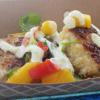 Shrimp Cakes with Mango Salsa and Jalapeno Crema