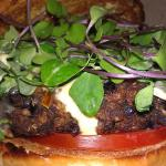 Spicy Black Bean Burger with Horseradish Mayo and Micro Greens